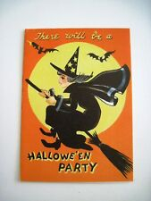 """Vintage """"Halloween"""" Party Invitation w/ Cute Witch Flying on A Broom w/ Bats *"""