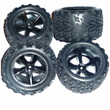 Traxxas 1/16 E-Revo VXL  4 TALON TIRES, INSERTS & BLACK CHROME GEMINI WHEELS