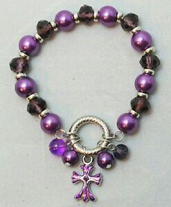 Silver Cross Charm Bracelet Stretch Purple Bead Religious Spiritual Gift