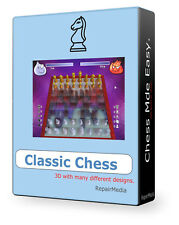 Chess Board Game Fun Classic échiquier damier LOGICIEL 3D Windows DVD PC