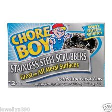 NEW! 2pk Chore Boy STAINLESS STEEL Scrubbers Scouring Pads- 1 box of 2