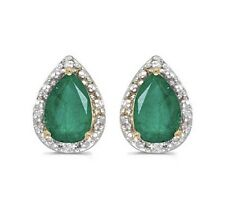 14K Genuine Natural Green Emerald and Diamond 1.42ctw Yellow Gold Earrings