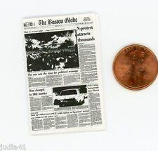Miniature Dollhouse Newspaper / The Boston Globe