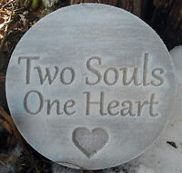 """Plastic plaque mold """"Two souls One heart""""garden ornament stepping stone"""