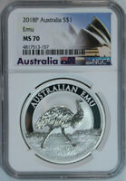 2018 P AUSTRALIA EMU 1 Ounce .999 Pure Silver $1 Coin NGC Mint State 70