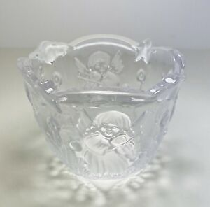 Clear Glass Christmas  Votive Tea Light Candle Holder Embossed Angels👼 Frosted