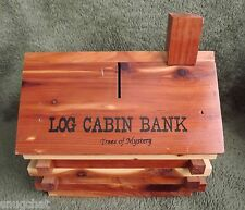 Log Cabin Bank Trees of Mystery Cedar Wood 2-Tone Cedar Wood Saving Fun for Kids