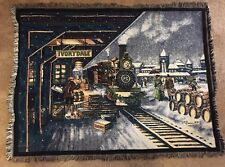 """CHRISTMAS TRAIN TAPESTRY Throw Blanket 43"""" x 58"""" by Northwest ... train station"""