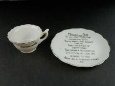 Vintage Miniature Porcelain Cup & Plate Mom Mother & Dad