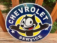 """Old Vintage  Chevrolet Service  Felix Cat Porcelain Sign 12"""""""