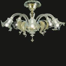 Ca' venier plafonnier 5 lumièrs cristal or bleu clair