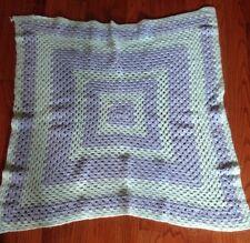 "Baby Afghan Blanket Handmade Knit Crib Throw Blanket Teal And Blue 34"" x 34"" EUC"