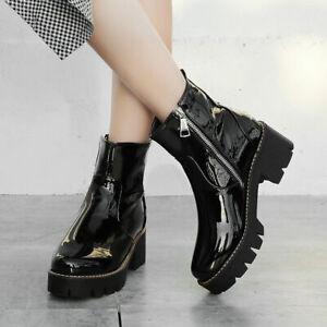 Women Winter Platform Boots Punk Waterproof Side Zip Block Mid Heel Ankle Bootie