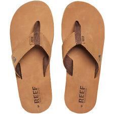 Reef Mens Leather Smoothy Holiday Pool Beach Flip Flops Thongs Sliders - Bronze
