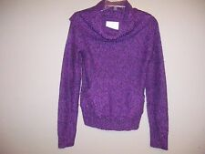Energie Womens Size M Tweed Purple Long Sleeve Sweater Hand Warmer Front Pocket