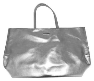 Clinique Silver Metallic Faux Leather Cosmetic Tote Bag