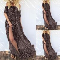 ZANZEA Women Summer Beach Leopard Party Long Maxi Dress High Split Sundress Plus