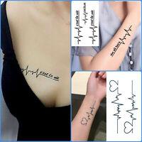 Heart Beat Love Waterproof Temporary Tattoo Women Men Fake Sticker Cest la Vie