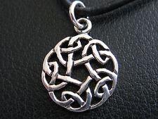 Keltischer Knoten 925'er Silber + Echtlederband Ketten Anhänger  / KA 276