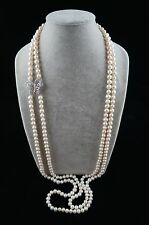 41/44 inches 8-9mm Double-Strand White Pearl Necklace with Butterfly Ornament