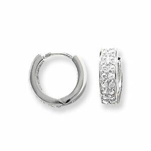 Mens Huggie Hoop Earring Cubic Zirconia Solid Sterling Silver 925 Gents Hallmark