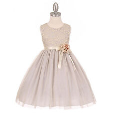 SILVER Flower Girl Dress Wedding Birthday Party Formal Pageant Bridesmaid Dance