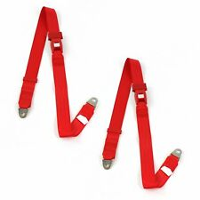 Chevy Impala 1959 - 1960 Standard 2pt Red Lap Bucket Seat Belt Kit - 2 Belts rat