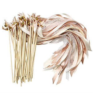 Cieovo 50 Pack Ribbon Wands Wedding Streamers with Bells, Silk Fairy Stick Wand