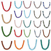 100pcs 6x4mm Faceted Glass Crystal Rondelle Loose Beads 111Colors Findings DIY