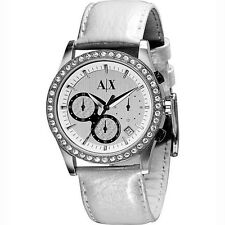 EMPORIO ARMANI WHITE LEATHER BAND,SILVER TONE,CRYSTAL BEZEL WATCH AX5004