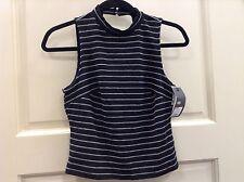 Womens XS Textured Shirt Top Button-Back Halter Open Back Club $49  Black Stripe