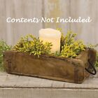 NEW Primitive Antique Look BRICK MOLD WOOD BOX DRAWER Tray Candle Holder