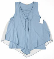 Pemberly x Anthropologie Womens Lace Up V Neck Sleeveless Top Tank Top Blue Grey