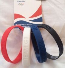 4 PIECE WRISTBANDS GREAT BRITAIN LONDON OLYMPIC 2012 BLACK, WHITE, RED AND BLUE