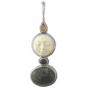 Offerings Sajen 925 Sterling Silver Pietersite, Amber Black Star Goddess Pendant