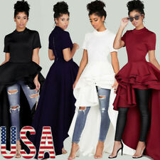 Women Short Sleeve High Low Peplum Dress Bodycon Casual Party Club Mini Dress US