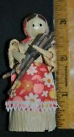"Vintage ADORABLE RARE MINI 3 1/4"" CORN HUSK DOLL w/ Red Apron Carrying Wood EXC"