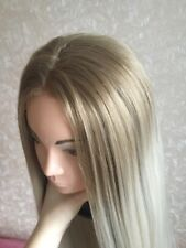 European Ash Ombré Platinum Blonde Light Hair Lace Front Wig. Human