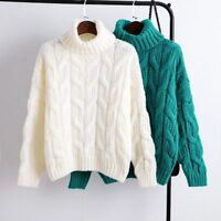 Women Warm Thick Loose Sweater Turtleneck Pullover Knitted Winter Sleeve Tops L