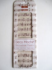 First Edition Deco Mache Decoupage Papers - Red Music Notes Christmas decopatch