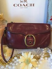 Authentic ~COACH~ Burgundy Leather Bleecker Tattersall Top Zip Wristlet GUC!