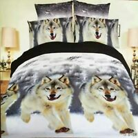 Bedding Set Of Bed Sheet Cover Pillow Cases Wolf Horse Design King Queen Size