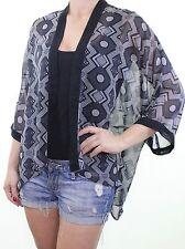 BNWOT H&M black grey geometric print sheer silky kimono jacket size XS 6 8 10