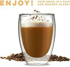 Espresso Latte Cappuccino Stackable Glassware 2-12oz Double