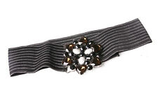Black Stretchable Waist Belt Silver Tone Stripes Big Beaded Flower Buckle (S612)