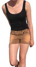 Trachtenhose Jeans Shorts Damen Braun Stickerei XL Denim Stonewashed Damen  Neu
