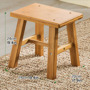 Small Wooden Stool Footstool Square Children Seat for Kitchen Garden Home UK