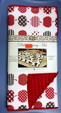Kitchen Microfiber Drying Mat (16 x 19), red, APPLES WITH VARIOUS DESIGNS by BH