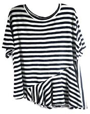Abound Women's Top Ruffle Short Sleeve White Navy Striped Casual Size Small