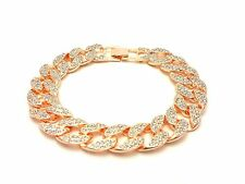 MENS ICED OUT 15mm CZ  MIAMI CUBAN LINK CHAIN HIP HOP BRACELET GOLD OR SILVER